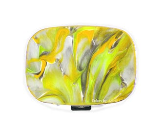 Oval Metal Pill Box with Mirror Hand Painted Glossy Enamel Yellow Taupe and White Quartz Ispired with Personalized and Color Option