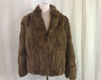 Vintage 1980s Brown Rabbit Fur Jacket Coat 8 Hong Kong