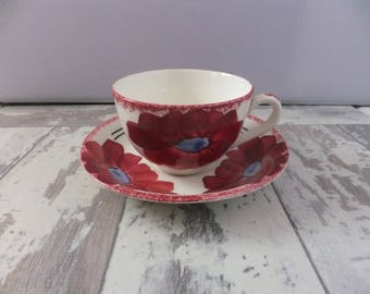Blue Ridge RUBY Cup and Saucer Red Flower with Blue Center Southern Potteries Hand Painted Erwin Tennessee USA