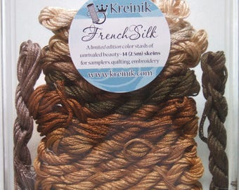 Kreinik French Silk Embroidery Thread Floss Brown Collection B4204