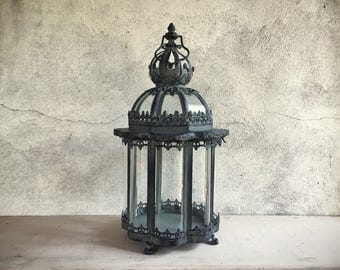 Heavy distressed metal and glass garden lantern candle holder hurricane Gothic Halloween decor