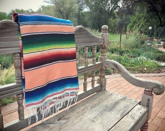Large vintage Mexican serape blanket bench seat cover Southwestern decor
