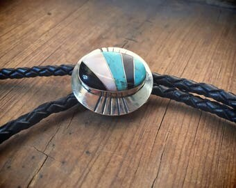Vintage turquoise bolo tie channel inlay with black onyx gift for men