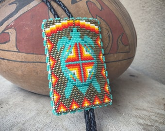 Beaded Bolo Tie for Men Turtle Design, Native America Bolo Necklace, Gift for Men