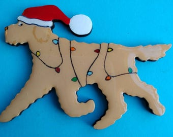 Christmas Goldendoodle or Labradoodle Pin, Magnet or Ornament-Color Choice-Free Shipping-Hand Painted Doodle- Free Personalization Available