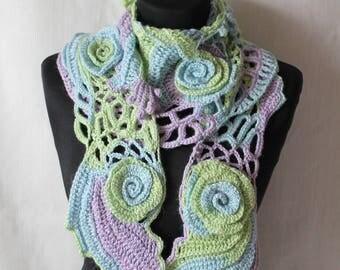Chic, Boho Hippie Freeform Crochet Scarf , Lace Crochet Scarf, Pastel knit scarf, Flower crochet scarf