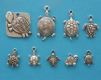 The Turtle and Tortoise collection - 9 antique silver tone charms