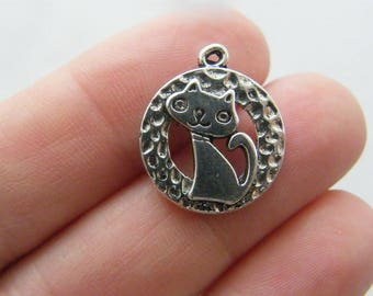 8 Cat charms antique silver tone CT57