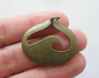 BULK 10 Wave charms antique bronze tone BC34