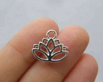 BULK 50 Lotus flower charms silver plated F204 - SALE 50% OFF