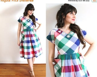 ON SALE 1940s Dress / 40s 50s Dress / 1940s Colorful Gingham Plaid Picnic Dress