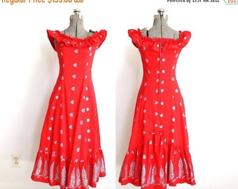 ON SALE 1950s Dress / 50s Hawaiian Dress / Red Hawaiian Wiggle Dress