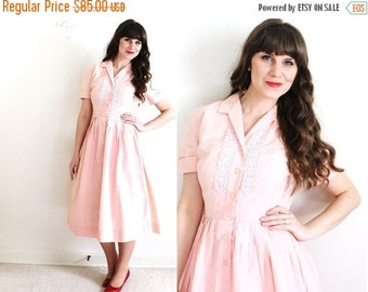 ON SALE 50s Dress / 1950s Dress / 50s Pink Dress