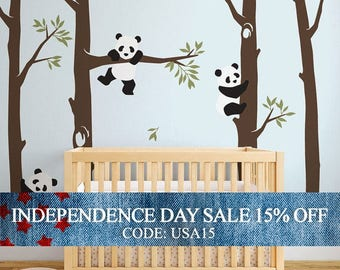 Independence Day Sale - Tree with Pandas Wall Decal, Panda Wall Decal, Panda Tree for Baby Nursery, Kids or Children Room Decals