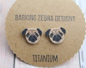 Pug Stud Earrings | Pug Studs | Pug Earrings | Pug Jewelry | Dog Earrings | Dog Studs | Titanium Stud Earrings | Hypoallergenic