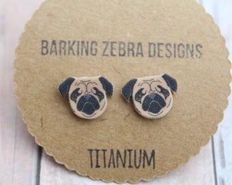 Pug Stud Earrings | Pug Studs | Pug Earrings | Pug Jewelry | Dog Earrings | Dog Studs | Titanium Stud Earrings | Hypoallergenic