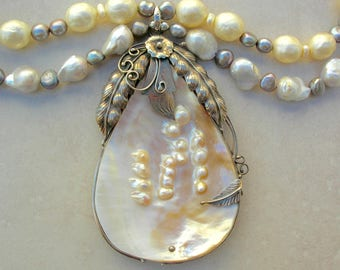 Magnificent Shell Pendant, Natural Mabe Pearls in Silver Frame,Natural Baroque & Faux Baroque Pearls,Freshwater Pearls, Set by SandraDesigns