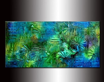 Texture painting ,Original Abstract Modern Art , Blue , Green Contemporary Art By Henry Parsinia 48x24
