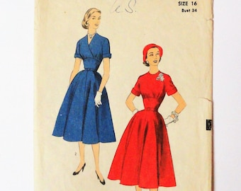 1950s Dress pattern, full skirt, wasp waist, shaped midriff, fitted bodice, vintage sewing pattern, Advance 6391 misses size 16, bust 34