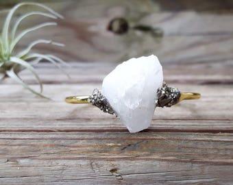 Raw Quartz Crystal Quartz Bracelet  Pyrite Bracelet Cuff Bracelet Druzy Cuff Bracelet Druzy Stone Bracelet Raw Crystal Bracelet Gold Cuff