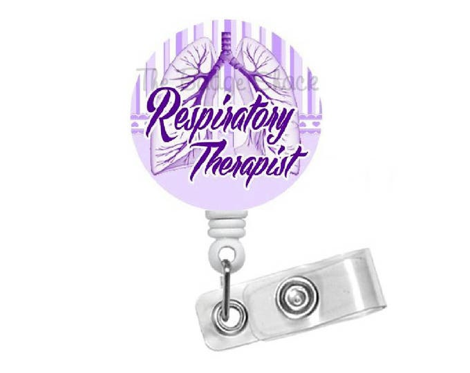 Respitory Therapist Badge Reel Purple - RT Badge Holder - Badge Pull - Respiratory Specialist Badge Clip - Pulmonary Badge Reel - Lung Badge