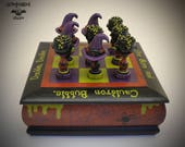 Original Hand Painted and Sculpted Halloween Witch/Wizard Tic Tac Toe Game Box – Witch Hats vs. Cauldrons