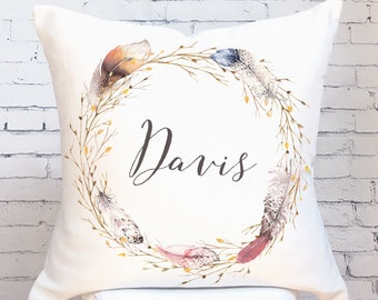 Autumn Pillow Cover Fall Decor Feather Wreath Personalized Last Name