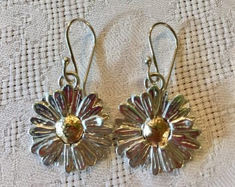 Daisy Earrings on Fish Hooks Sterling Silver and 10k Gold