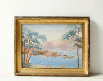 Vintage Landscape Painting, Lake and Mountain Oil Painting, Framed Painting, Signed Original Art