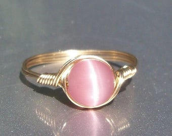 25% Off Sale Lg Pink Cat's Eye 14k Yellow Gold Filled Wire Wrapped Gemstone Ring Custom Sized