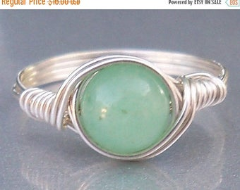 25% Off Sale Green Aventurine Argentium Sterling Silver Wire Wrapped Stone Ring
