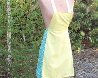 Vintage Full Apron, Yellow and Green Gingham, Bib Apron, Hand Made