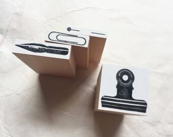 New - Oscolabo Office Stationery Original Stamps for art mailing, journaling, techo planner deco, packaging, card making