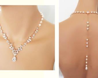 Rose Gold Backdrop Wedding Necklace, Bridal Jewelry, crystal necklace set,  Swarovski element Jewelry - Barbara