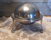 Silver Footed Butter Dish - Butter Butler - Vintage Butter Server - Silver Plated Butter Dish - Dome Butter Dish