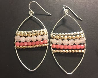 Blush - Pink gemstone earrings - Handcrafted Beaded earrings
