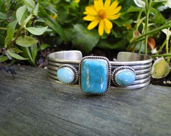 Andy Cadman Kaizen Navajo Southwestern Sterling Silver and Turquoise Bracelet