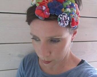 "Headband, fascinator ""cloud of flowers"", red, blue sakura flowers, Japanese fabric"