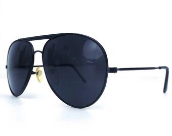 vintage 80s deadstock aviator sunglasses matte black metal frames solid dark sun glasses eyewear men women unisex new simple classic cool 17
