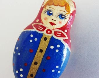 ON SALE Cute Vintage Painted Lacquer Russian Doll Brooch Pin