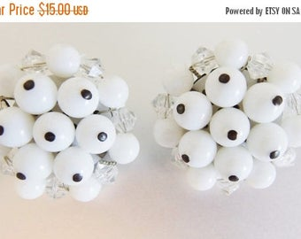 ON SALE Pretty Vintage Wired White Lucite Beaded Cluster Earrings Germany