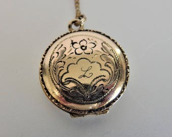Vintage Floral Etched 12K GF Locket Necklace Mono L
