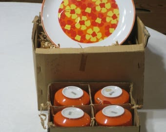 Vtg. NOS Toscany 8 Pc. Snack Set Art #3015/Aspen Made in Japan Original  price label.