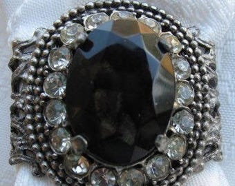 Vintage Black Glass and Rhinestone Scarf Slide or Tube Estate Jewelry