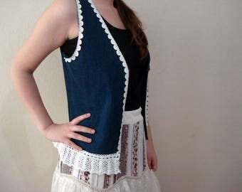 Denim Vest, Jean and lace  Waistcoat Vest Denim top with lace