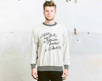 90s Mens Sweatshirt . Vintage 1990s Graphic Print Sweater Terry Cloth Towelling Velvet Sweatshirt Grey Sports Sweater . size Large