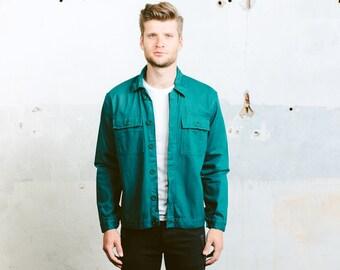 80s Work Jacket . Green Trucker Jacket Vintage Crop Jacket Outerwear Boyfriend Gift Hipster Outfit Chore Jacket Hipster Outfit . Medium