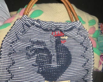 70's Hand Woven Tourist Rug Bag Large ROOSTER Boho  Tote Portugal rattan handles