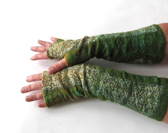 Hand Felted Mittens, Green fingerless gloves, Wool gloves, Green forest , Winter gift, Green Warm mitts, Green yellow gloves