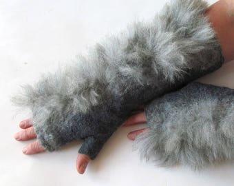 Felt fingerless gloves Hand Felted Mittens, Brown gloves, Fur mittens Brown White wool mittens, Cozy winter Gloves, wool arm warmer